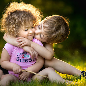 by Mike DeMicco - Babies & Children Child Portraits ( hug, children, kids, brotherly, siblings, cute, pretty, portrait, love, sister, kiss, sweet, happy, brother, handsome )