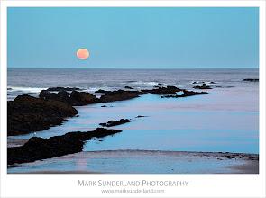 Photo: Moonrise at Doo Craigs, St Andrews, Fife, Scotland