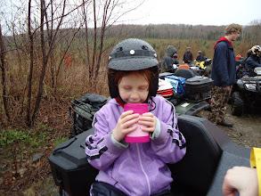 Photo: Sat, May 14/11 SBC ATV Day - Bethany really enjoys a warm drink