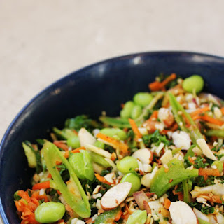 Shredded Asian Salad with Kale, Snow Peas & Toasted Almonds
