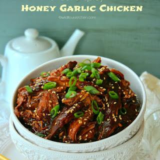 Slow Cooker Asian Sweet & Spicy Honey Garlic Chicken.