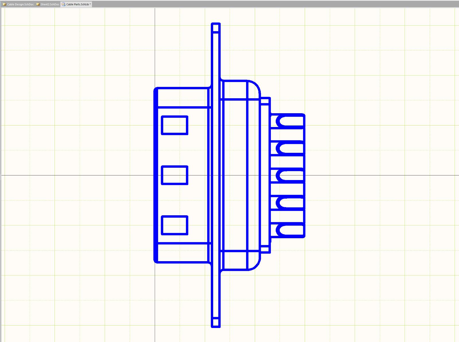 Abbildung 4.  Kabeldesign erstellen: Profilansicht eines DSUB-Anschlusses in Altiums Editor