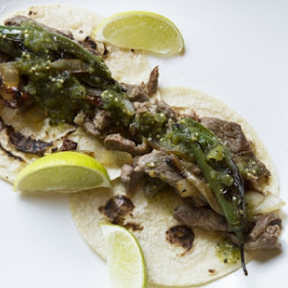 Seared Steak Tacos with Blistered Serranos & Browned Onions.