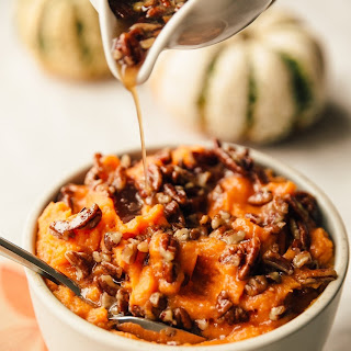 Stovetop Whipped Sweet Potatoes with Maple and Pecans