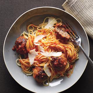 Spaghetti With Bacon Meatballs.