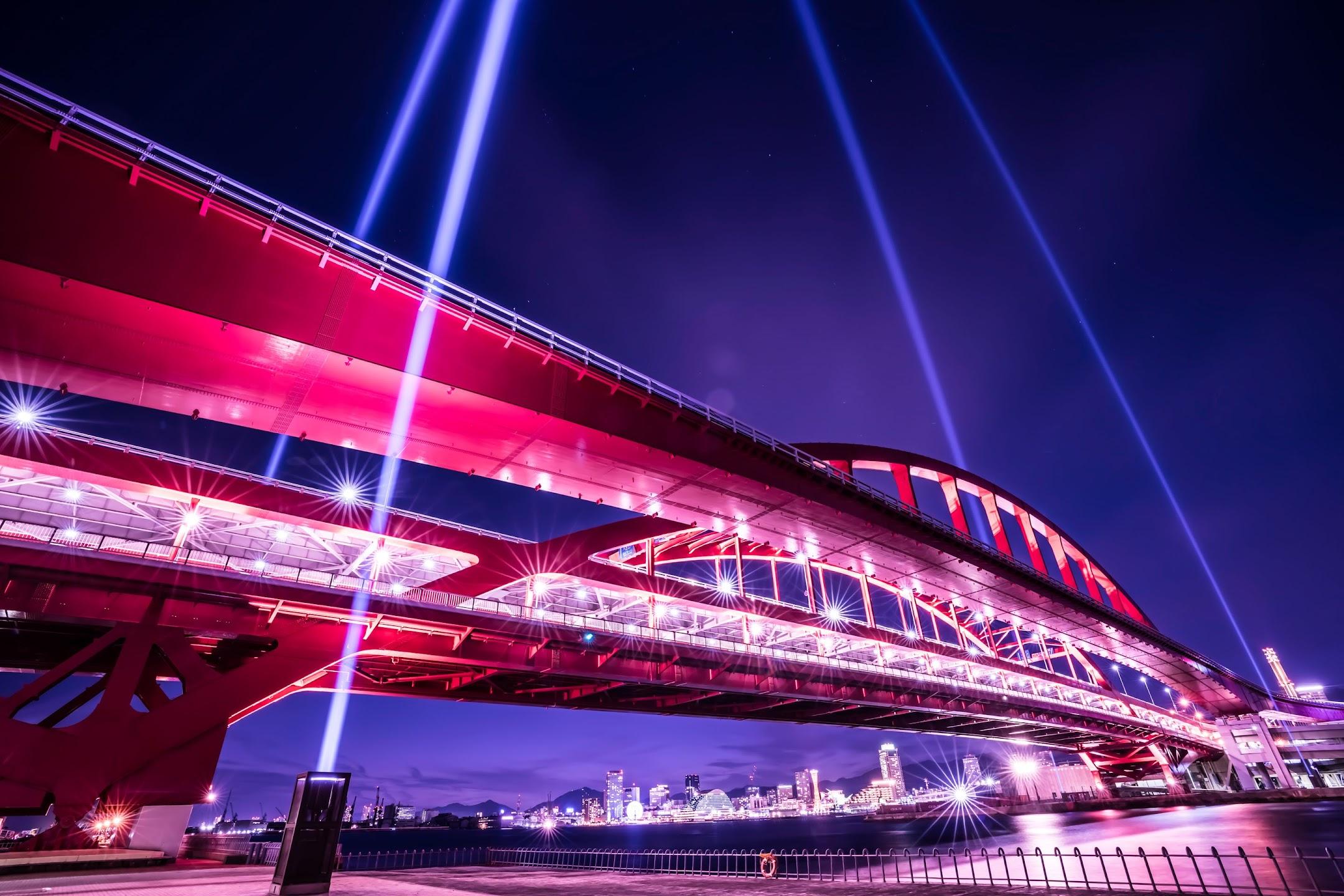神戸大橋 上空照射 ライトアップ2