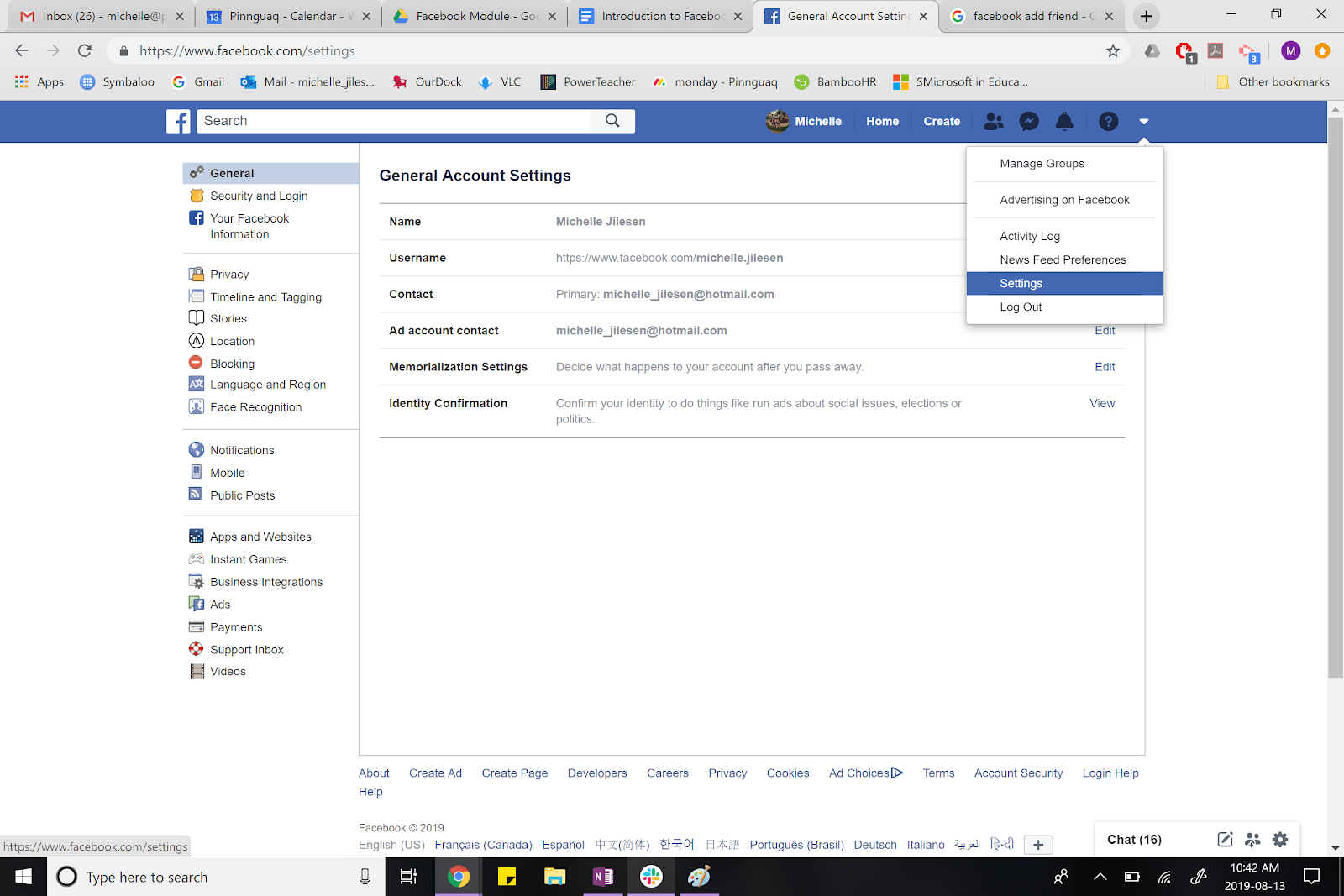 facebook page showing the setting option.