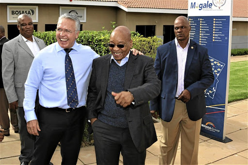 Bosasa chief executive officer Gavin Watson with then president Jacob Zuma at the company's Krugersdorp headquarters in 2015.