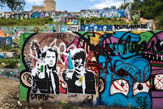 "Photo: *Pulp Fiction #Graffiti *  Spraycans, not Guns  Austin, Texas #Streetart at Castle Hill by ""Made Fresh""  #streetartsunday"