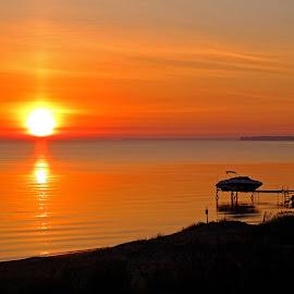 Lake Huron Sunrise by Bill Diller - Landscapes Sunsets & Sunrises ( orange, calm, sunrise, michigan, nature, great lakes, calmness, tranquility, tranquil, lake huron, peaceful )