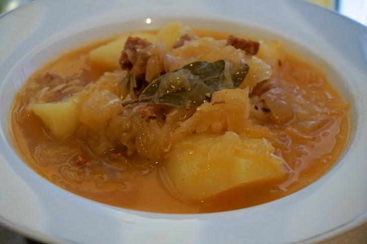 Eastern European Meal: Delicious Sauerkraut Soup with Chorizo and Potatoes Recipe (Recept: SkvěLá ZelňAčKa S KlobáSou a Bramborami) Recipe