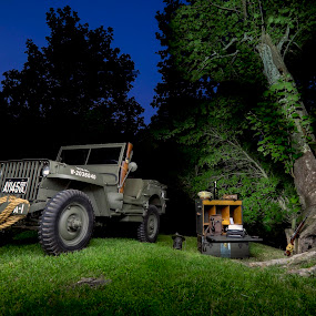 Willys Army Jeep by Trey Amick - Transportation Automobiles ( army, light painting, night photography, jeep, fujifilm, fuji, long exposure, night, nightscape,  )