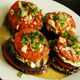Grilled Eggplant with Tomatoes and Feta.