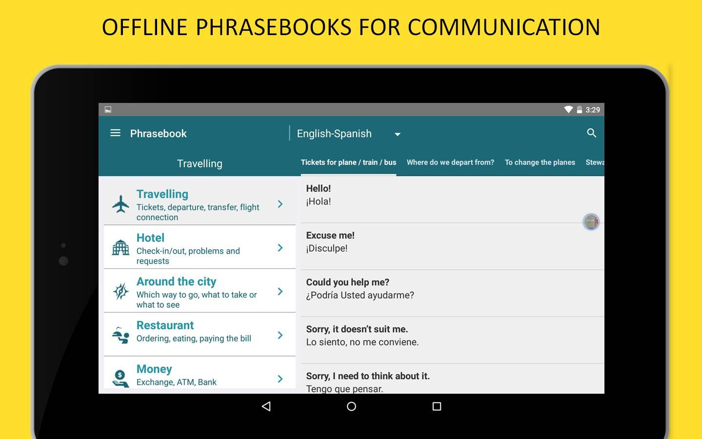Spanish offline translator screenshot