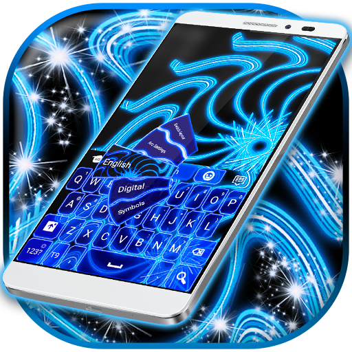 Blue Neon Color Keyboard
