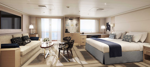 The Neptune Suite on Holland America's Rotterdam offers modern design and includes a spacious veranda and a private concierge.