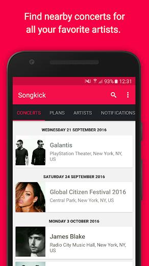 Screenshot 3 for Songkick's Android app'