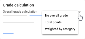 Grade calculation menu options: No overall grade, Total points, or Weighted by category