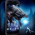Black Cool Launcher: Fire Monster Dragon Wallpaper icon