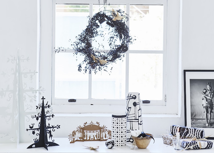 A unique display of Christmas decorations inspired by Shelley Street's love of a monochrome colour palette.