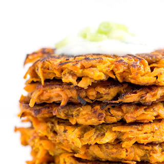 Curried Sweet Potato + Carrot Fritters