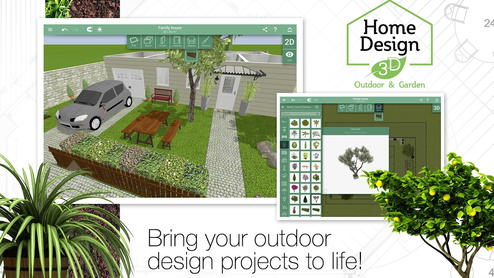 Home design 3d outdoor garden android apps on google play for Best house designs with garden