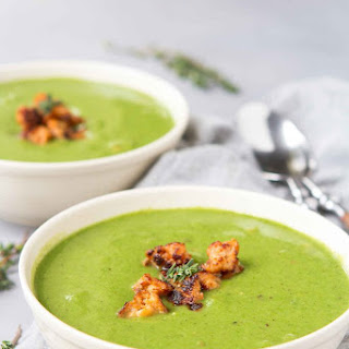 Healthy Cauliflower Spinach Soup with Sausage.