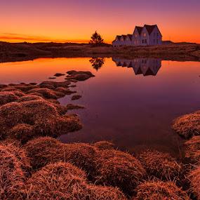 Purple Sunset by Bragi Ingibergsson - Landscapes Sunsets & Sunrises ( water, reflection, iceland, purple, brin, bragi j. ingibergsson, sunset, house, yellow, straumur )