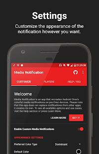 Media Notification - náhled