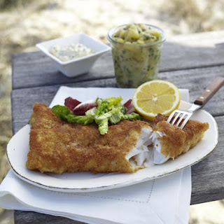 Pan-Fried Fish with Tartar Sauce and Salad.