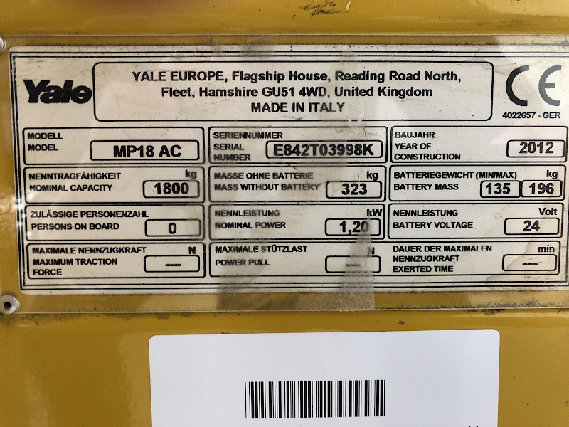 Picture of a YALE MP18