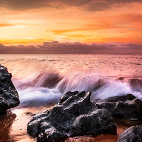 Waves over the Stone by Sonny Saban - Landscapes Waterscapes ( travel.waves, sunsets, sea, beach, rote island )