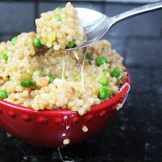 Cheesy Pearl Couscous and Peas