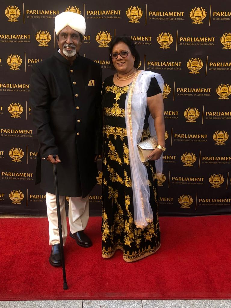 ANC MP Omie Singh with his wife Popsi ahead of the state of the nation address in parliament in Cape Town on February 7 2019.