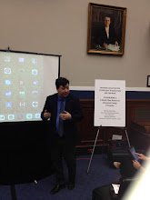 Photo: Garron Hillaire teaching the congressional staffers about variables and algebraic reasoning using CAST's iSolveIt apps (http://isolveit.cast.org/).