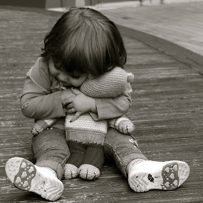 I love my teddy soooo much by Yvonne Katcher - Babies & Children Children Candids ( shoes, child, sitting, hugging, teddy )