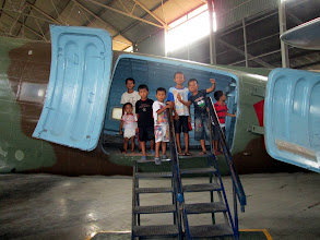 Photo: This was the only way to keep the children out of the photos. C-47 Dakota