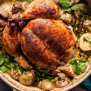 Creamy Lemon and Herb Pot Roasted Whole Chicken.