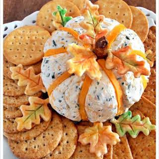 Cheddar & Chive Pumpkin Cheese Ball.