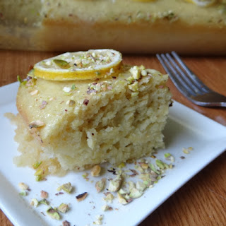 Tofu Lemon Cake with Pistachio Lemon Glaze