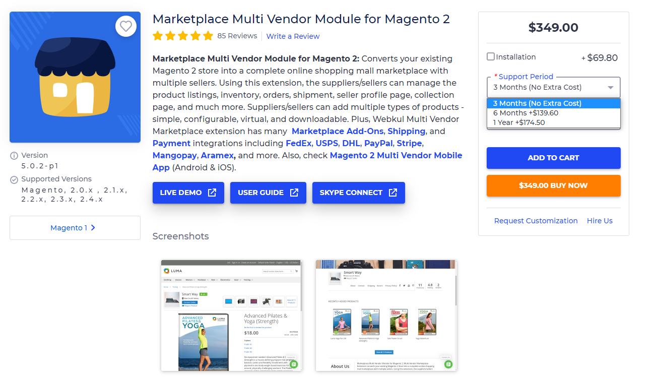 magento best extensions 2021- WebKul Multi Vendor Marketplace