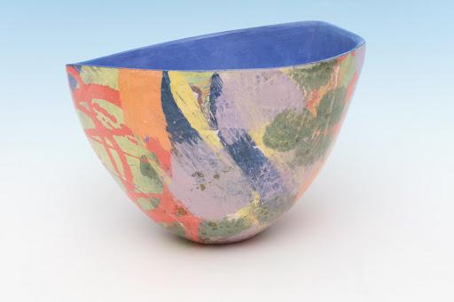 Carolyn Genders Ceramic Vessel entitled 'Blue Interior Abstraction III'