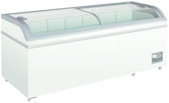 Diepvrieskoffers XS800 DIEPVRIESKOFFER MET GEBOGEN GLAZEN GLIJDEKSELS 2000mm