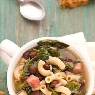 Black Bean and Pasta Soup with Spinach.