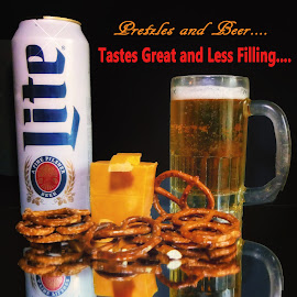 Pretzles and Beer by Dave Walters - Typography Captioned Photos ( beer, still life, artistic, miller lite, pretzles, typography, lumix fz2500 )