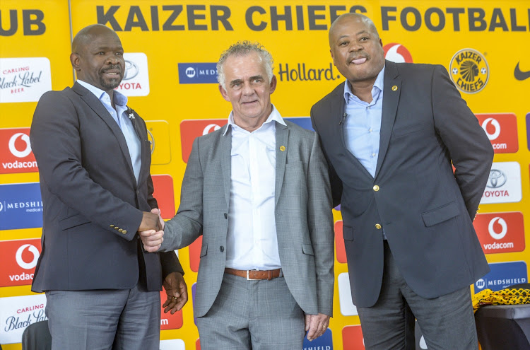 Coach Steve Komphela and Football manager Bobby Motaung introduce the new technical advisor Rob Hutting to the media during the Kaizer Chiefs media briefing at Chiefs Village on January 10, 2018 in Johannesburg, South Africa.