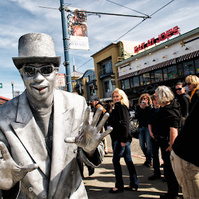 San Francisco Silver Street Performer by T.J. Wolsos - People Street & Candids ( tourist, fishing wharf, california, tourism, street performer, san francisco, city )