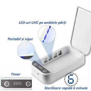 Sterilizator UVC 3 in 1 pentru obiecte, functie aromaterapie, mufa USB