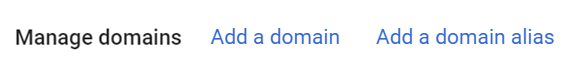 The Add a Domain and Add a Domain Alias links are shown.