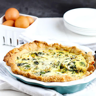 Spinach and Broccoli Quiche.